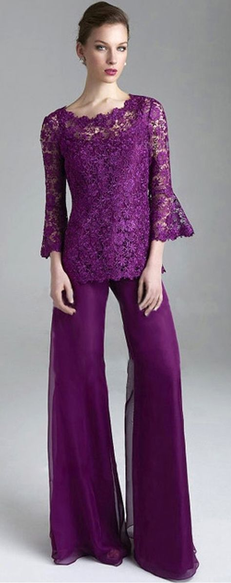 Graceful Pant Suits Chiffon & Lace Scoop Neckline Full-length Mother Of The Bridal Dresses