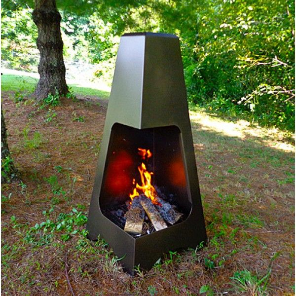 "Outdoor Steel Chiminea - 20"" X 45"" In Bronze Finish"