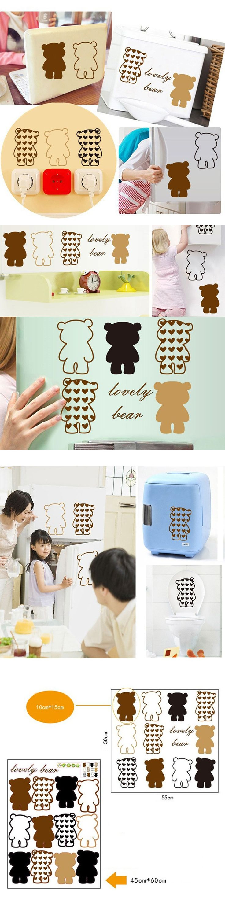 DIY Novelty Toilet Seat Lid Cover Sticker Cute Animal Bear Toilet Seat Decal Sticker Car Stickers Switch Wall Decals Home Decor $6.19