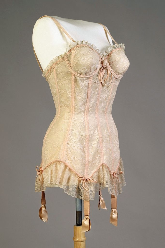 'Merry Widow' from the collection of Katharine Hepburn, American, 1956, Collection of the Kent State University Museum, KSUM 2010.12.150.  This garment may have been intended as a costume prop for Hepburn in her 1956 film with Bob Hope, 'The Iron Petticoat.'