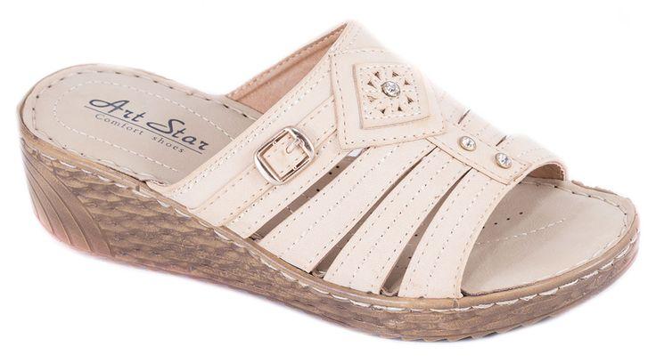 Papuci bej cu talpa ortopedica 0109-9B. Reducere 40%.