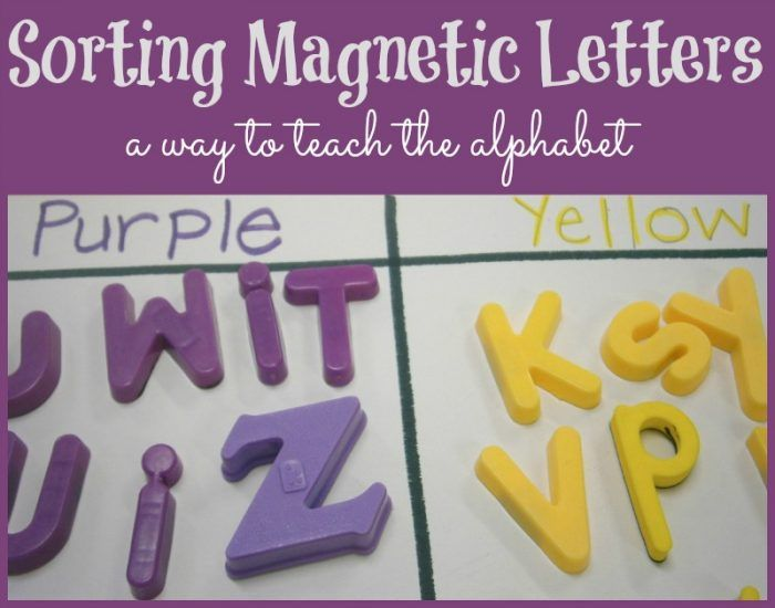 sorting magnetic letters as a way to teach the alphabet