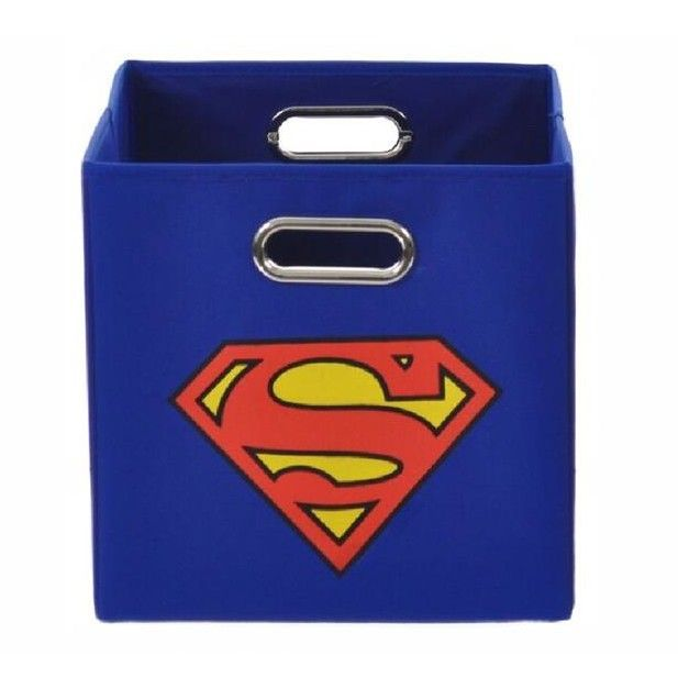 Features:  -Cardboard insert included.  -Superman collection.  -Natural metal eyelet handles for easy transport.  -Collapsible.  -Foldable.  Product Type: -Cubes & Bins.  Style: -Modern. Dimensions: