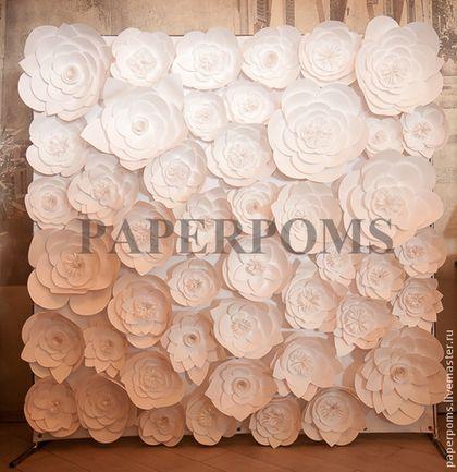 Свадебные аксессуары ручной работы. Ярмарка Мастеров - ручная работа. Купить гигантские бумажные цветы- белые до 300гр. Handmade. Белый