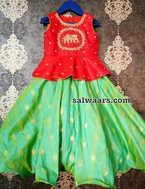 Light Green Polka Dots Lehenga - Indian Dresses