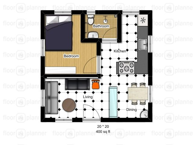Floor plan for a 400 sq ft apartment tiny house for Basement apartment floor plans