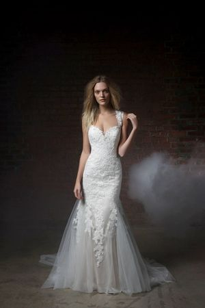 V-Neck Fit and Flare Wedding Dress  with Natural Waist in Alencon Lace. Bridal Gown Style Number:33164559