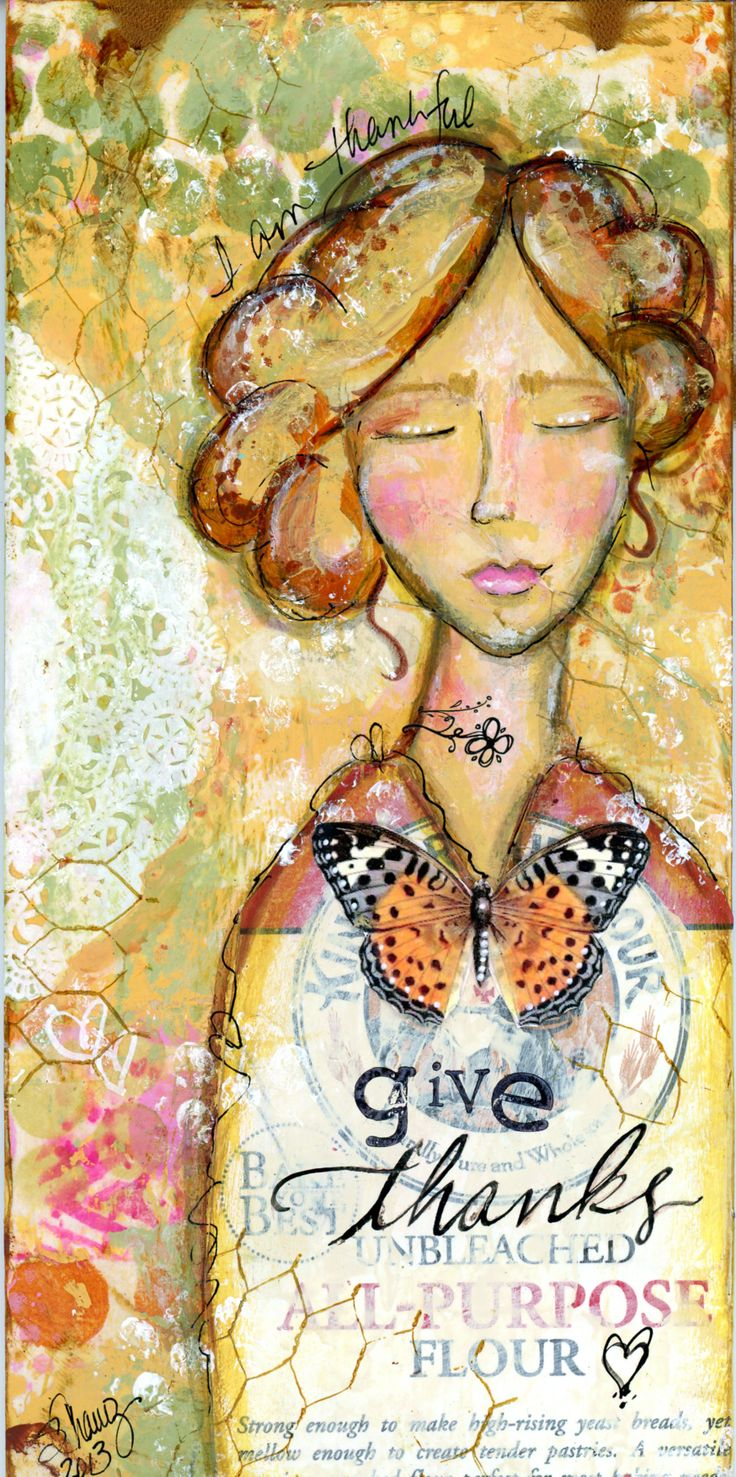 Mixed Media Collage on wooden substrate...'Give Thanks' - BananaCurlGirl.com