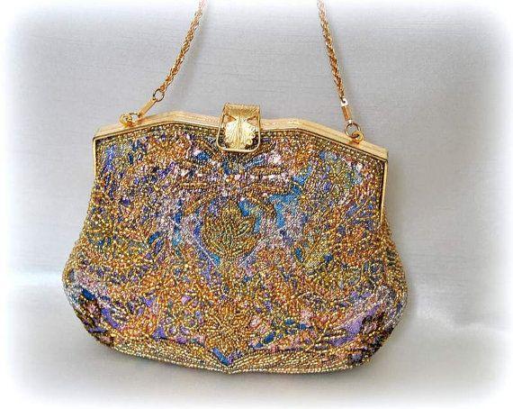 French Flapper Bag Wedding Purse Handbag Peacock by EventOutlet