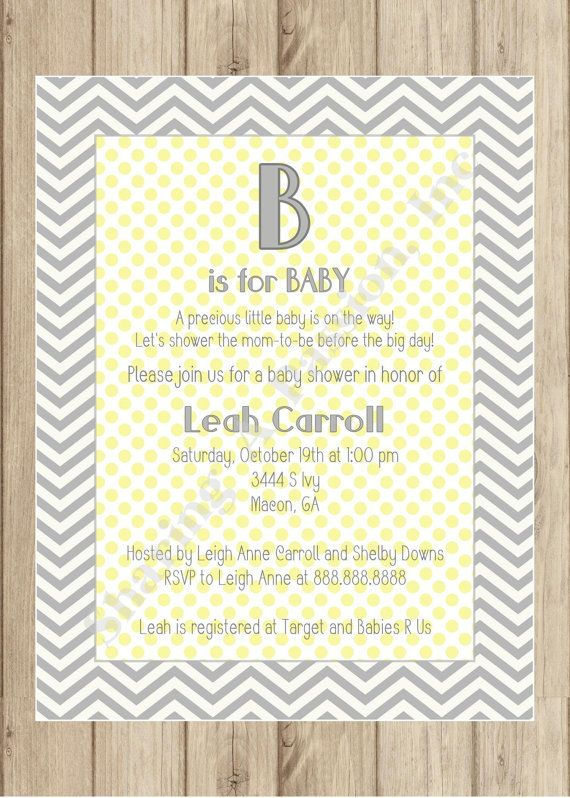 Yellow and Grey Chevron Baby Shower - Grey and Yellow Baby Shower - Invitations - Baby Shower Ideas
