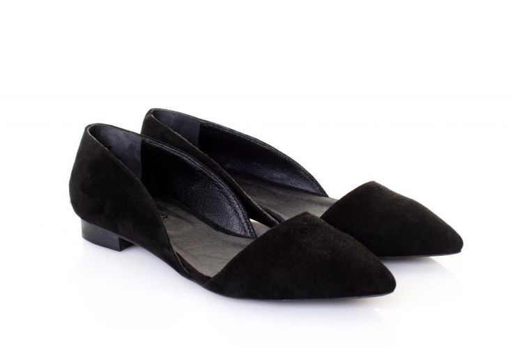 Pantofi piele intoarsa neagra