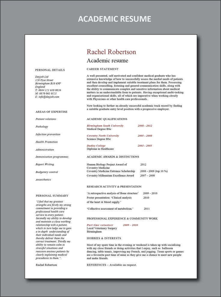 Academic resume template in 2020 (With images) Resume