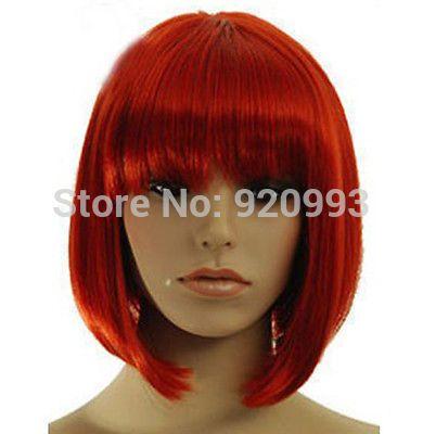 Оптовые магазины ** @ @ ** Партия Модные Короткие Красные зубчатые Челкой Прямые Волосы Женщины Cosplay Волос Полный Парики