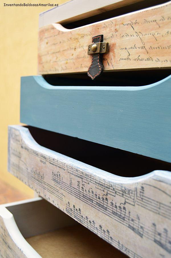 Inventando el finde 12: cajonera decorada con partituras | baldosas amarillas: blog de decoración low cost