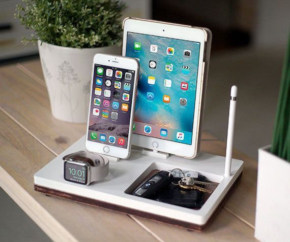 NytStnd TRAY 3 White is the ultimate charging dock for: - iPhone (5 & up) - iPad (Mini, Air, Pro) - Apple Watch: Series 1 & 2 (38mm & 42mm) - Apple Pencil (Holder Only) SIZE: 10.6 x 7.2 Want the Midnight version? https://www.etsy.com/listing/482662797/nytstnd-tray-3-midnight-free-2-day?ref=listing-shop-header-0 Have an iPad Pro 12.9? Add this to your order: https://www.etsy.com/listing/484128845/add-on-ipad-pro-129-device-...