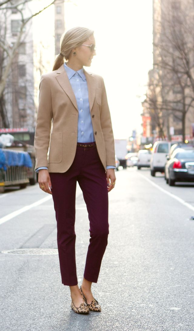 d leopard belt leopard loafers steve madden brooks brothers camel blazer burgundy theory cropped pants brooks brothers non iron blue oxford shirt fashion blog classic street style new york city women working appropriate professional outfit