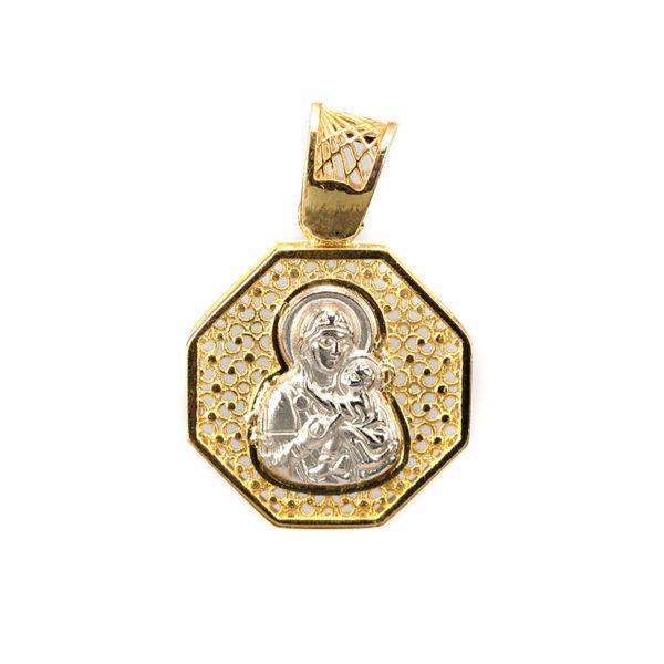 Μενταγιόν Παναγία δίχρωμο χρυσό Κ14  4965