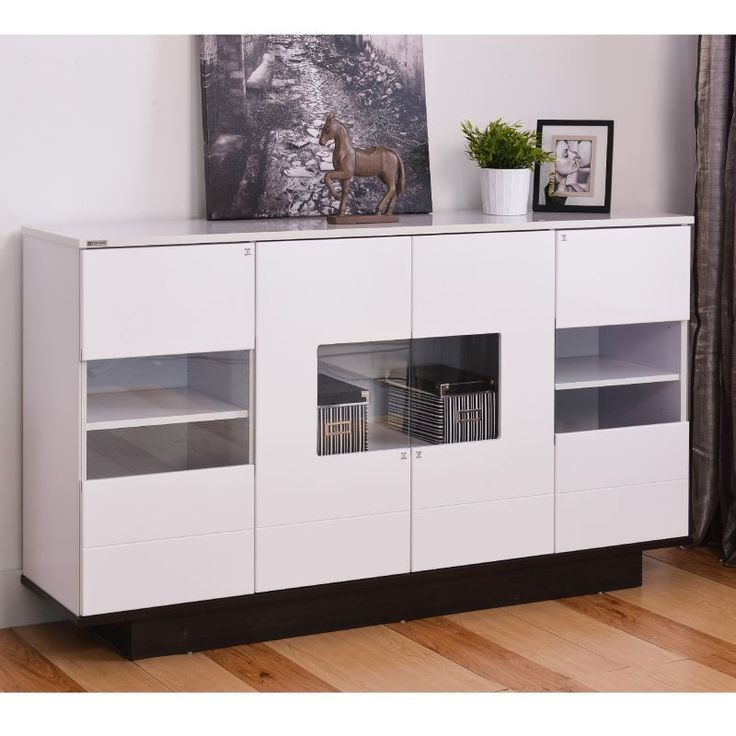 Mona High Gloss White Buffet With Display Windows