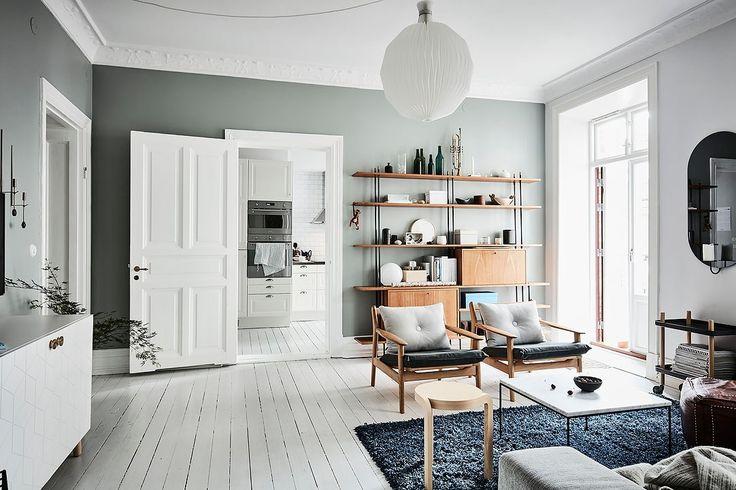 piso nórdico paredes azules detalles cálidos decoración pisos pequeños colores fríos decoración cocina nórdica blog decoración nórdica