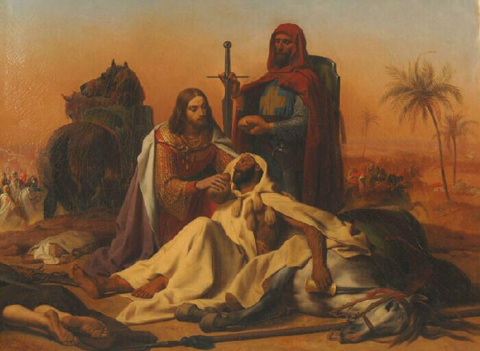 """Emile Signol:  """"Episode of the Seventh Crusade"""", 1840, oil on canvas,  Dimensions:Height in cm 97; Width in cm 13, current location:  Versailles ; Museum Lambinet."""