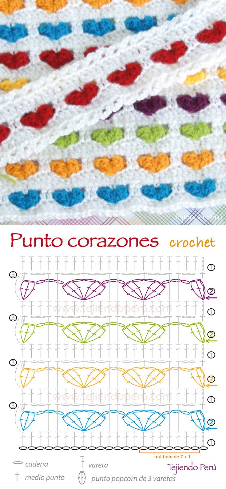 Heart Stitch - Free Crochet Diagram - See https://www.youtube.com/watch?v=sQizVaUyAGQ For Accompanying Spanish Video Tutorial  - (youtube)