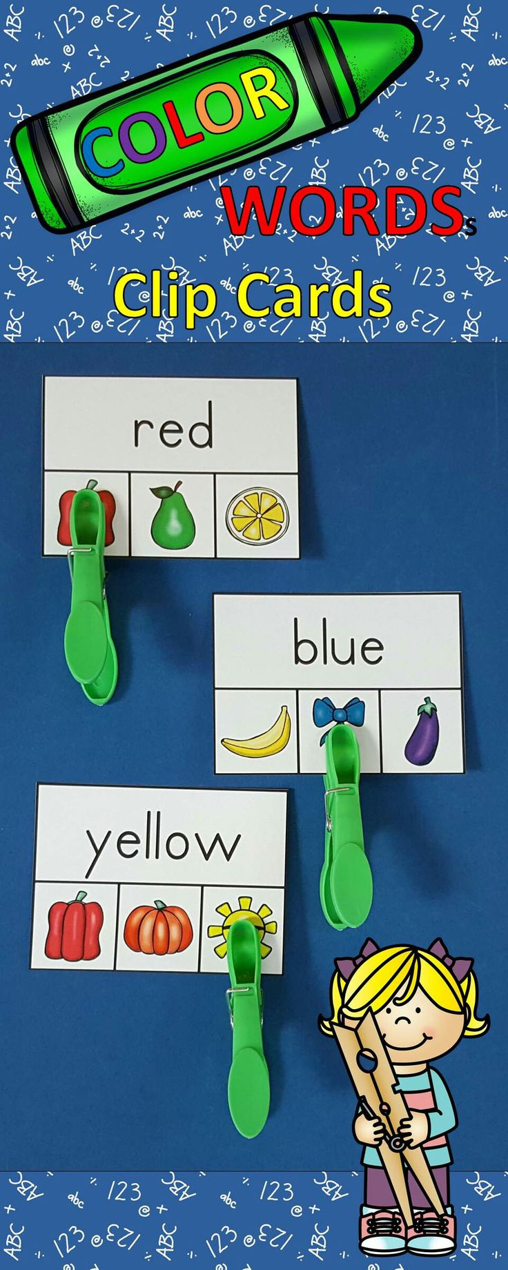 Engaging Color Word Literacy Centers for Your Little Learners!  Great for Morning Tubs, Early Finishers, and Take Home Practice. $   #colorwords  #literacycenters  #kampkindergarten #earlyfinishers #morningtubs    https://www.teacherspayteachers.com/Product/Color-Words-Clip-Cards-2750763