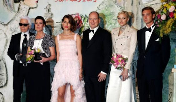 Monaco royal family with Karl Lagerfeld