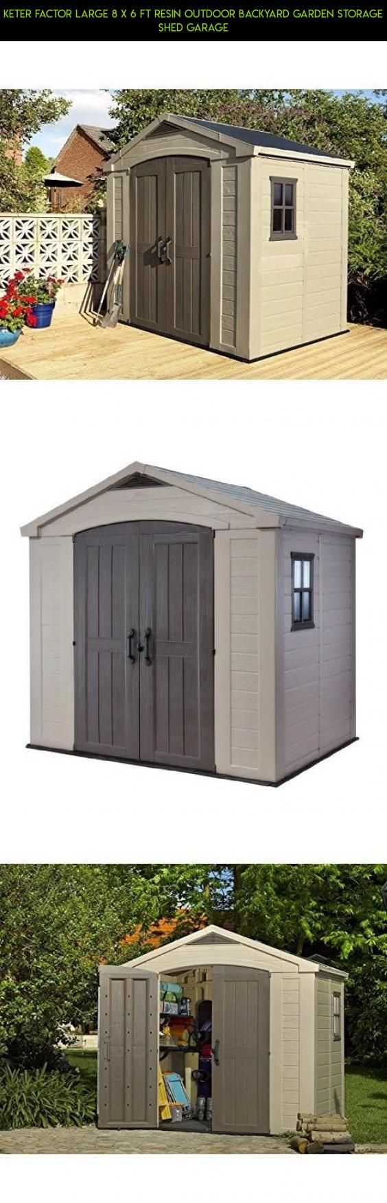 Keter Factor Large 8 x 6 ft Resin Outdoor Backyard Garden Storage Shed Garage #parts #shopping #gadgets #outdoor #technology #8x6 #plans #racing #tech #kit #& #drone #camera #sheds #storage #products #fpv