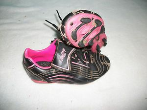 awesome Girls Toddler Soccer Cleats Size 12 Rawlings Brand Black Pink