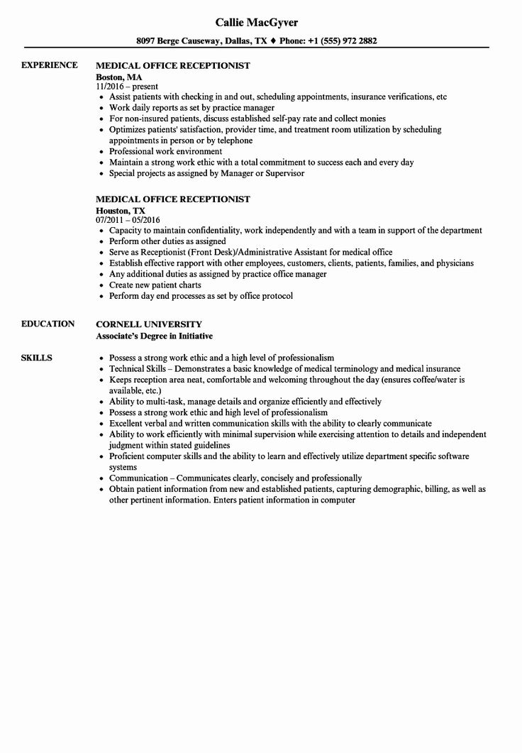 Front Desk Medical Receptionist Resume Unique Medical Fice