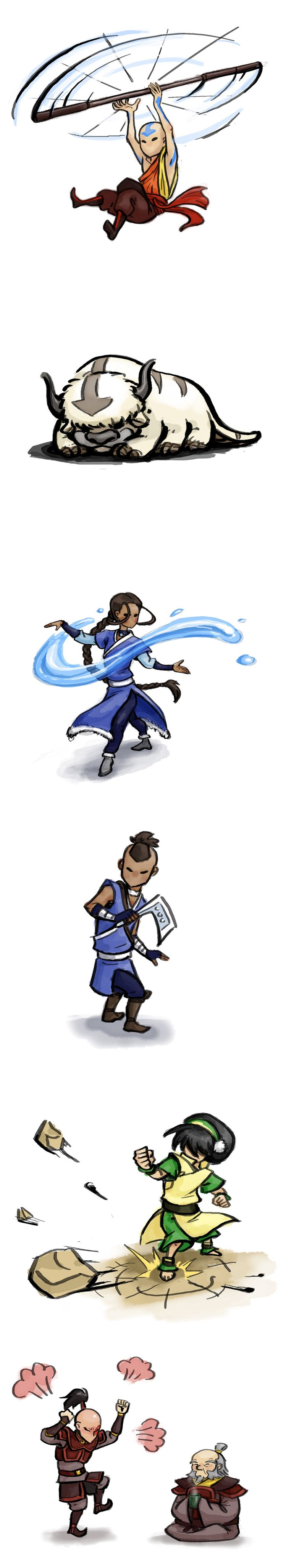 Some characters from Avatar: the Last Airbender in Okami style.