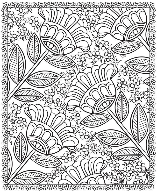 free printable pattern the site has 4 other flower coloring pages from dover publications