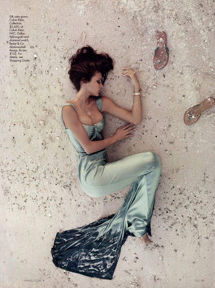 Mermaid – model miranda kerr, calvin klein satin gown, cyan 