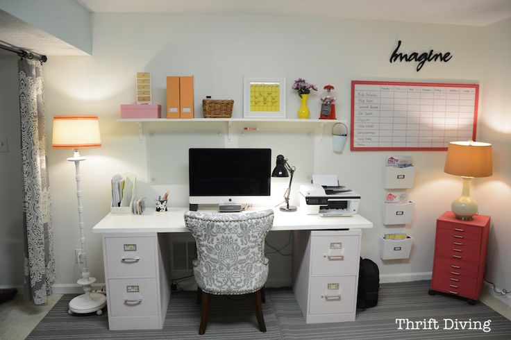 BEFORE & AFTER: My Pretty and Colorful Basement Home Office Makeover | Thrift Diving Blog