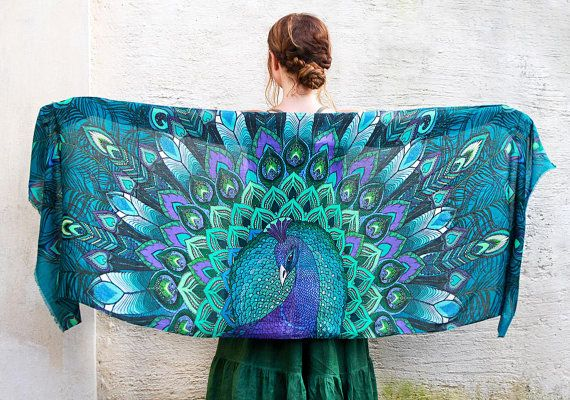 Peacock bird scarf shawl, Aqua feathers scarf, Hand painted Peacock, stunning unique and useful, perfect gift