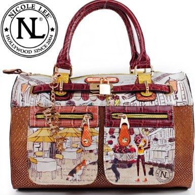 Amazon.com: Nicole Lee Claire Blocked Print Boston Bag Gitana Vintage Print Two Front Cargo Zip Pockets and Front Lock Embellishment Boston Handbag Hollywood Celebrity Animal Print Garden Print Handbag Purse with Adjustable Shoulder Strap in Burgundy Wine Brown and Snake: Clothing $59.99