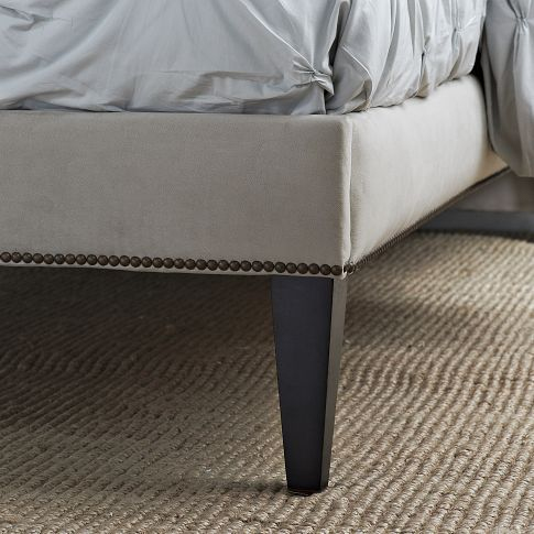 Nail head example for upholstering the box spring, and adding legs