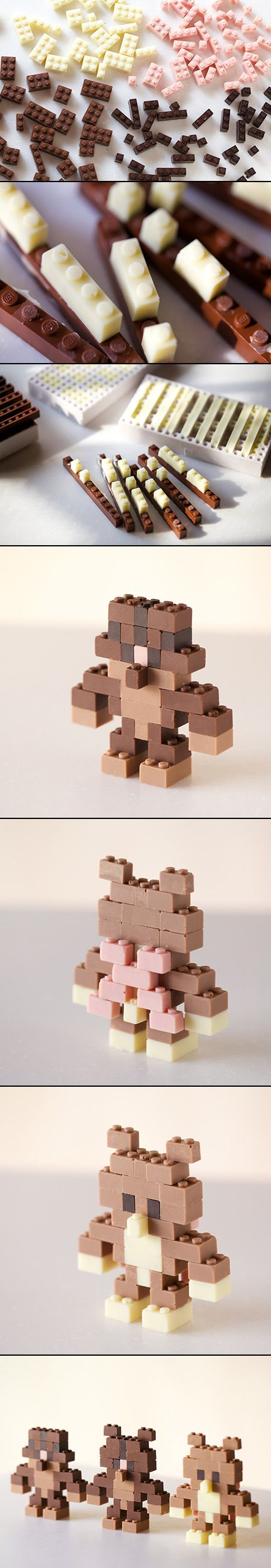 Illustrator and designer Akihiro Mizuuchi designed a modular system for creating edible chocolate LEGO bricks. Chocolate is first poured into precisely designed moulds that after cooling can be popped out and used as regular LEGOs.