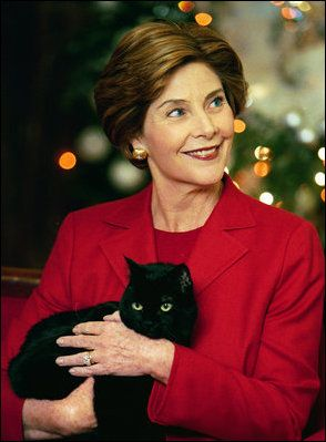 Laura Bush and family cat India #blackcatsrule