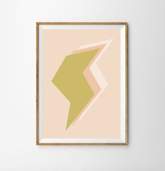 Midcentury Nursery Decor - Lightning Bolt - Gold & Peach - Modern Minimalist Midcentury Decor Art Print - Retro Modern Wall Art Poster
