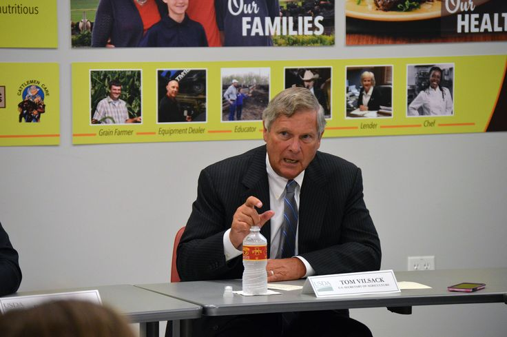 U.S. Secretary of Agriculture Tom Vilsack made a stop in Ames on Wednesday to speak with young farmers about opportunities and programs offered by the USDA. Photo by Austin Harrington/Ames Tribune