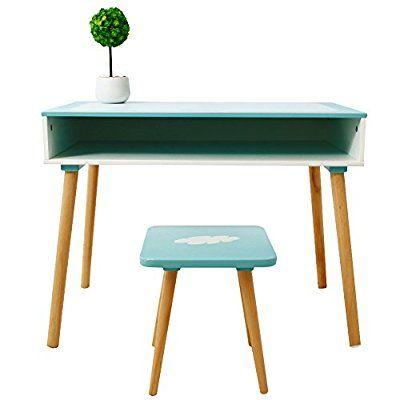 Labebe - Kinderschreibtisch / Arbeitstisch für Vorschüler Schreibtisch Set inklusive Hocker in weiß / blau 75x40x58 cm (LxBxH)