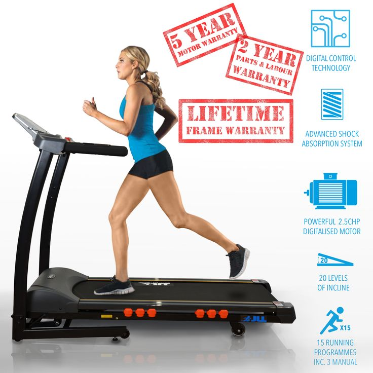 Motor: DC Continuous Power 2.5 HP (1800W), Peak Power 4.5 HP (3350W) Speed: 0.3-16 km/h = 0.18 - 10 mph Incline: 20 Level Incline (=12% Incline) Running Area:  123 cm (length) x 41 cm (width) / 48 inch x 16 inch Maximum User Weight: 120 kg / 18.8 St / 264 lb. Running Programmes:  15 (you can re-set the 3 first programmes) Entertainment: High Powered Speakers,iPod/iPhone/MP3 Connectivity & USB interface