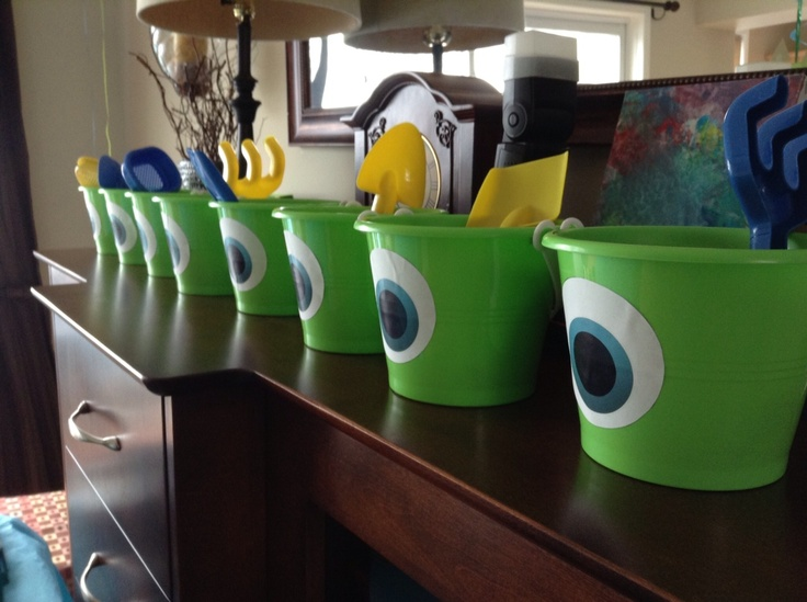 Buckets for my sons 3rd birthday Monsters Inc. party!