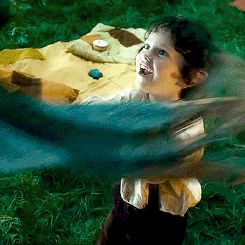 Little Bilbo. D'aww... I like him using his little fake sword to hit Gandalf and the wizard just pats his head. :3
