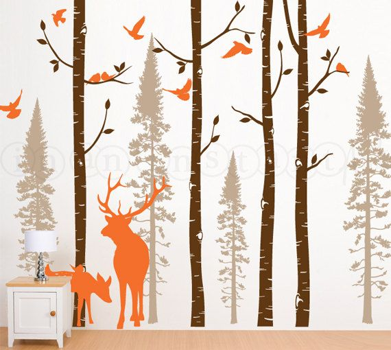 Birch and Fir Tree Wall Decal with Birds and Elk by InAnInstantArt