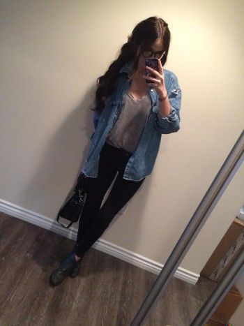 Acacia Brinley wearing A Nasty Gal Tee and AllSaints Jeans