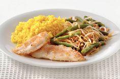 Kijk wat een lekker recept ik heb gevonden op Allerhande! Gepaneerde pangasiusfilet met gele rijst