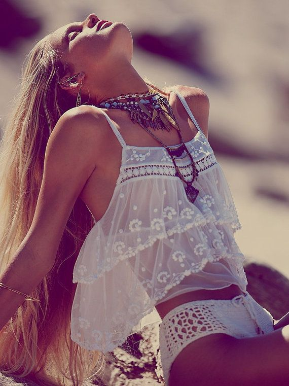 Romantic  beach bohemian crop top with sheer embroidered details