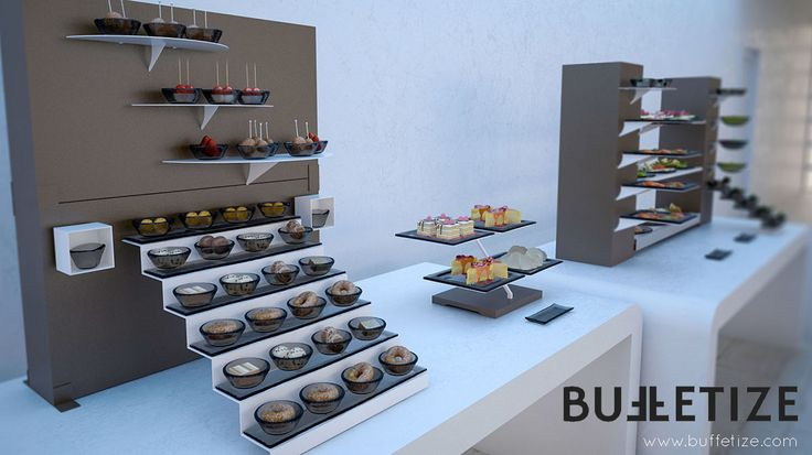 Level up your buffet presentation with buffet stairs, shelves and risers! Get inspired by our buffet systems! www.buffetize.com